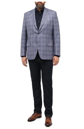 Мужская хлопковая рубашка VAN LAACK темно-синего цвета, арт. M-PER-L/180031/3XL | Фото 2 (Длина (для топов): Стандартные; Материал внешний: Хлопок; Рукава: Длинные; Стили: Кэжуэл; Случай: Повседневный; Рубашки М: Regular Fit)