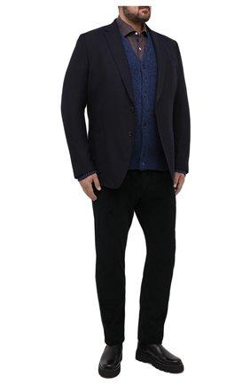 Мужской кардиган из шерсти и кашемира CRUCIANI темно-синего цвета, арт. CU26.303/60-68 | Фото 2 (Материал внешний: Шерсть; Рукава: Длинные; Big sizes: Big Sizes; Стили: Кэжуэл)
