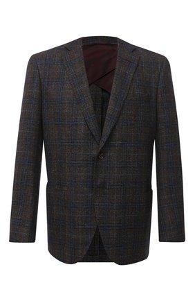 Мужской пиджак из шерсти и шелка LUCIANO BARBERA темно-коричневого цвета, арт. 111F25PEL1/18124/58-62   Фото 1