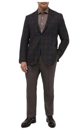 Мужской пиджак из шерсти и шелка LUCIANO BARBERA темно-коричневого цвета, арт. 111F25PEL1/18124/58-62   Фото 2