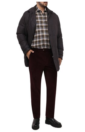 Мужской хлопковые брюки HILTL бордового цвета, арт. 74818/60-70 | Фото 2