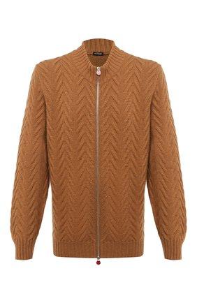 Мужская кашемировый кардиган KITON светло-коричневого цвета, арт. UK12069/4XL-8XL | Фото 1