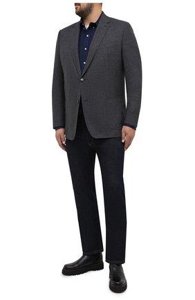 Мужская хлопковая рубашка POLO RALPH LAUREN темно-синего цвета, арт. 711707428/PRL BS | Фото 2