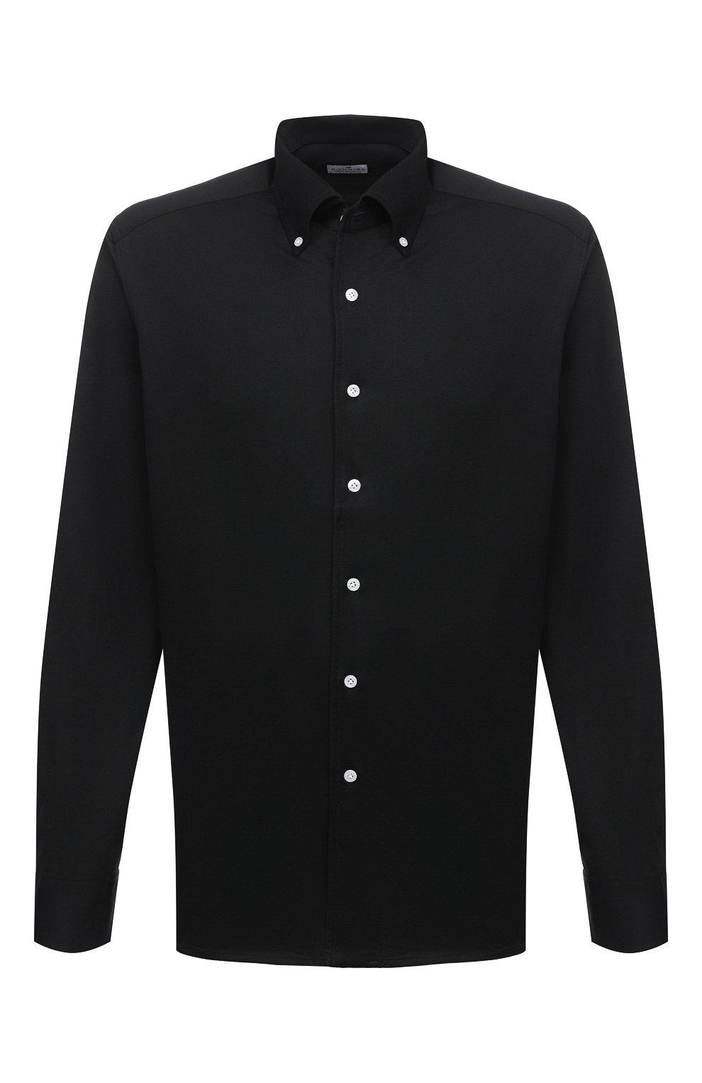 Мужская хлопковая рубашка SONRISA черного цвета, арт. IFJ7167/J133   Фото 1 (Манжеты: На пуговицах; Воротник: Button down; Big sizes: Big Sizes; Рукава: Длинные; Рубашки М: Regular Fit; Случай: Повседневный; Длина (для топов): Стандартные; Материал внешний: Хлопок; Принт: Однотонные; Мужское Кросс-КТ: Рубашка-одежда; Стили: Кэжуэл)