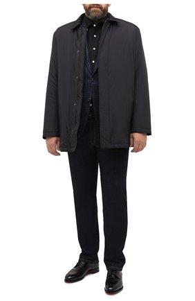 Мужская хлопковая рубашка SONRISA черного цвета, арт. IFJ7167/J133   Фото 2 (Манжеты: На пуговицах; Воротник: Button down; Big sizes: Big Sizes; Рукава: Длинные; Рубашки М: Regular Fit; Случай: Повседневный; Длина (для топов): Стандартные; Материал внешний: Хлопок; Принт: Однотонные; Мужское Кросс-КТ: Рубашка-одежда; Стили: Кэжуэл)