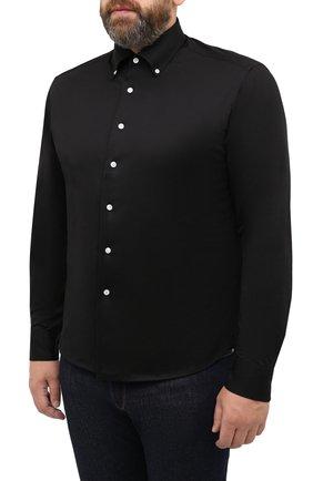 Мужская хлопковая рубашка SONRISA черного цвета, арт. IFJ7167/J133   Фото 3 (Манжеты: На пуговицах; Воротник: Button down; Big sizes: Big Sizes; Рукава: Длинные; Рубашки М: Regular Fit; Случай: Повседневный; Длина (для топов): Стандартные; Материал внешний: Хлопок; Принт: Однотонные; Мужское Кросс-КТ: Рубашка-одежда; Стили: Кэжуэл)