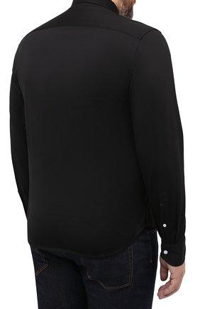 Мужская хлопковая рубашка SONRISA черного цвета, арт. IFJ7167/J133   Фото 4 (Манжеты: На пуговицах; Воротник: Button down; Big sizes: Big Sizes; Рукава: Длинные; Рубашки М: Regular Fit; Случай: Повседневный; Длина (для топов): Стандартные; Материал внешний: Хлопок; Принт: Однотонные; Мужское Кросс-КТ: Рубашка-одежда; Стили: Кэжуэл)