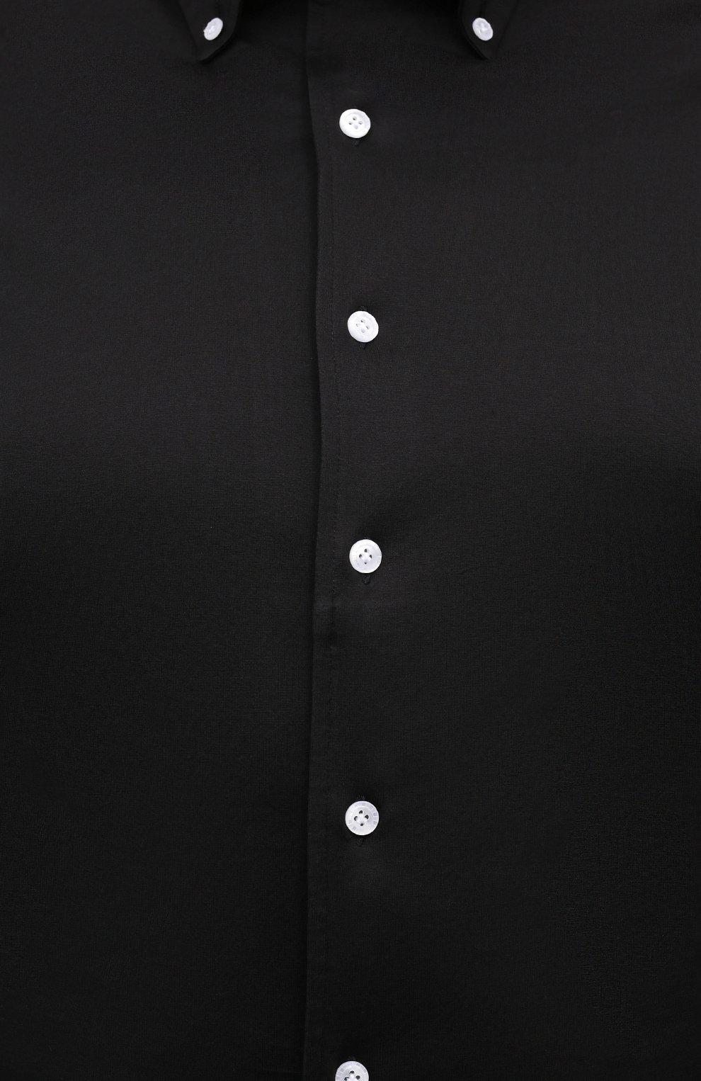 Мужская хлопковая рубашка SONRISA черного цвета, арт. IFJ7167/J133   Фото 5 (Манжеты: На пуговицах; Воротник: Button down; Big sizes: Big Sizes; Рукава: Длинные; Рубашки М: Regular Fit; Случай: Повседневный; Длина (для топов): Стандартные; Материал внешний: Хлопок; Принт: Однотонные; Мужское Кросс-КТ: Рубашка-одежда; Стили: Кэжуэл)