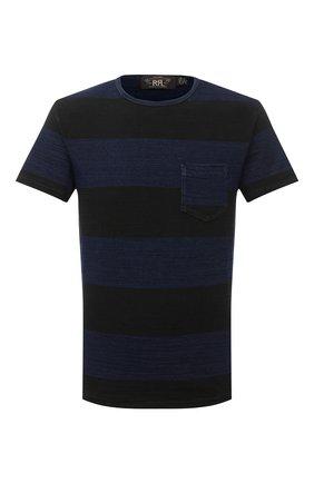 Мужская хлопковая футболка RRL темно-синего цвета, арт. 782799928 | Фото 1 (Длина (для топов): Стандартные; Материал внешний: Хлопок; Рукава: Короткие; Мужское Кросс-КТ: Футболка-одежда; Стили: Кэжуэл; Принт: С принтом)