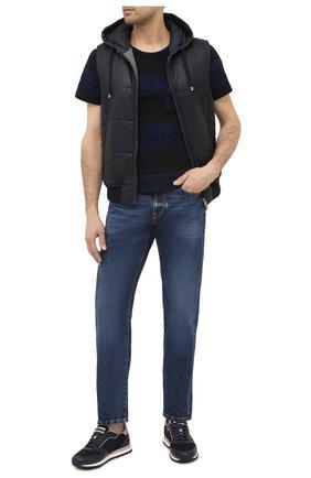 Мужская хлопковая футболка RRL темно-синего цвета, арт. 782799928 | Фото 2 (Длина (для топов): Стандартные; Материал внешний: Хлопок; Рукава: Короткие; Мужское Кросс-КТ: Футболка-одежда; Стили: Кэжуэл; Принт: С принтом)