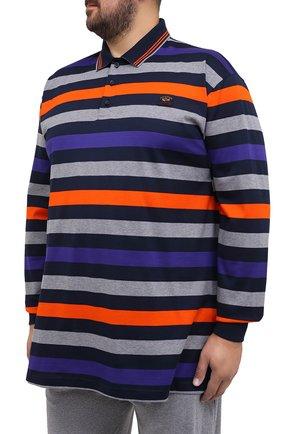 Мужское хлопковое поло PAUL&SHARK разноцветного цвета, арт. A20P1746/C00/3XL-6XL   Фото 3 (Застежка: Пуговицы; Рукава: Длинные; Длина (для топов): Удлиненные; Материал внешний: Хлопок; Стили: Кэжуэл)