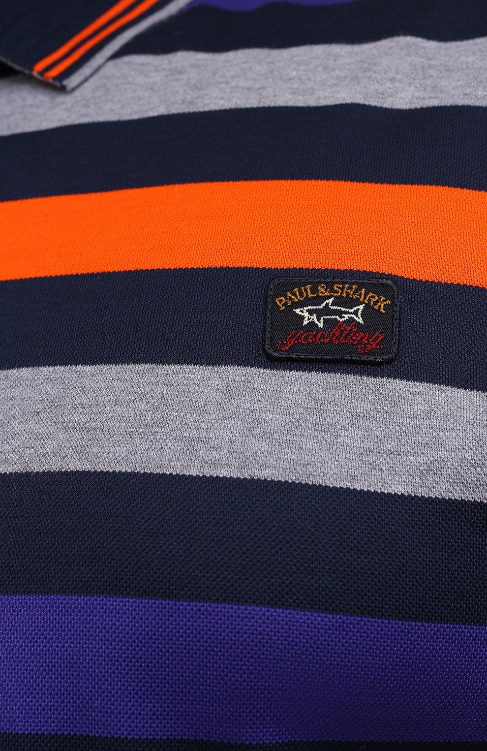 Мужское хлопковое поло PAUL&SHARK разноцветного цвета, арт. A20P1746/C00/3XL-6XL   Фото 5 (Застежка: Пуговицы; Рукава: Длинные; Длина (для топов): Удлиненные; Материал внешний: Хлопок; Стили: Кэжуэл)