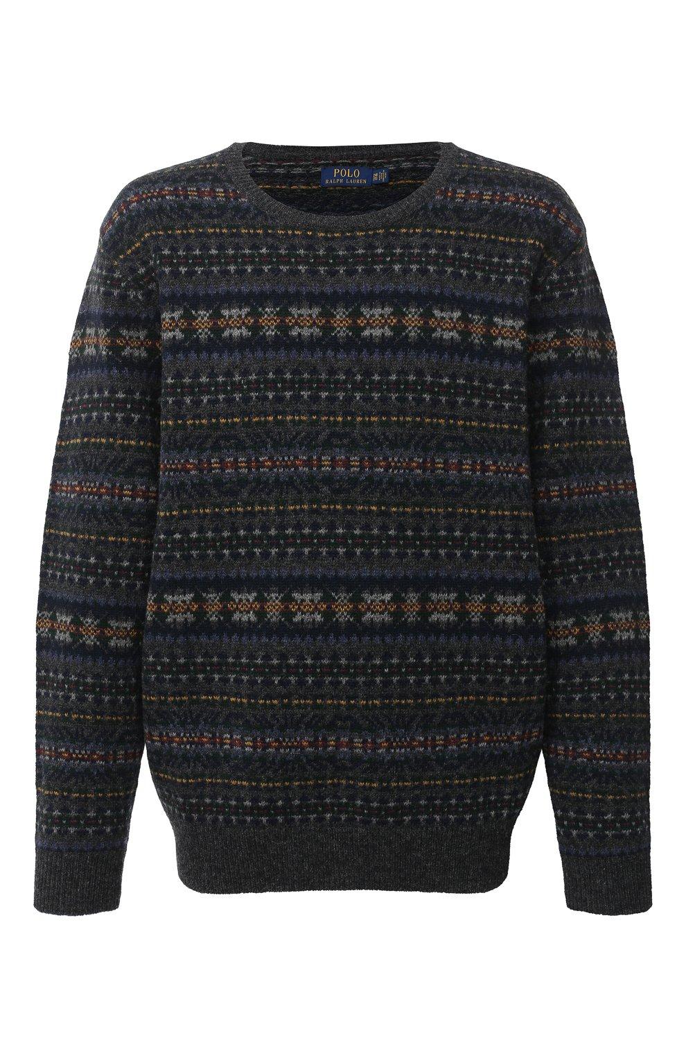 Мужской шерстяной свитер POLO RALPH LAUREN серого цвета, арт. 711814717/PRL BS   Фото 1 (Big sizes: Big Sizes; Материал внешний: Шерсть; Рукава: Длинные; Длина (для топов): Стандартные; Стили: Кэжуэл)