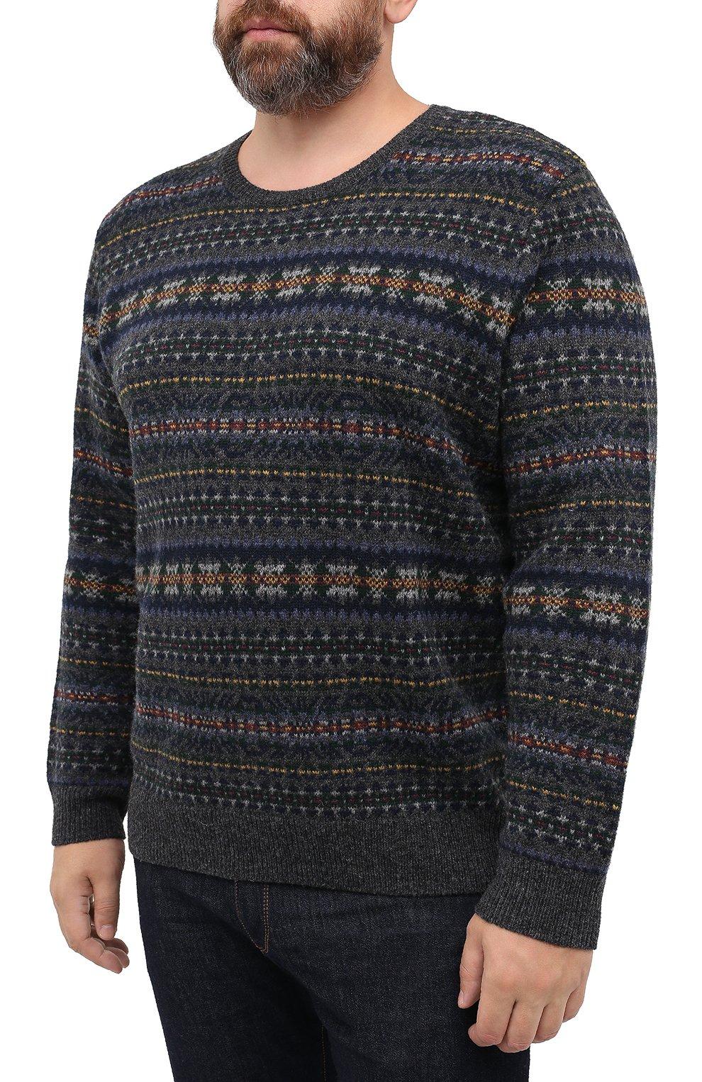 Мужской шерстяной свитер POLO RALPH LAUREN серого цвета, арт. 711814717/PRL BS   Фото 3 (Big sizes: Big Sizes; Материал внешний: Шерсть; Рукава: Длинные; Длина (для топов): Стандартные; Стили: Кэжуэл)