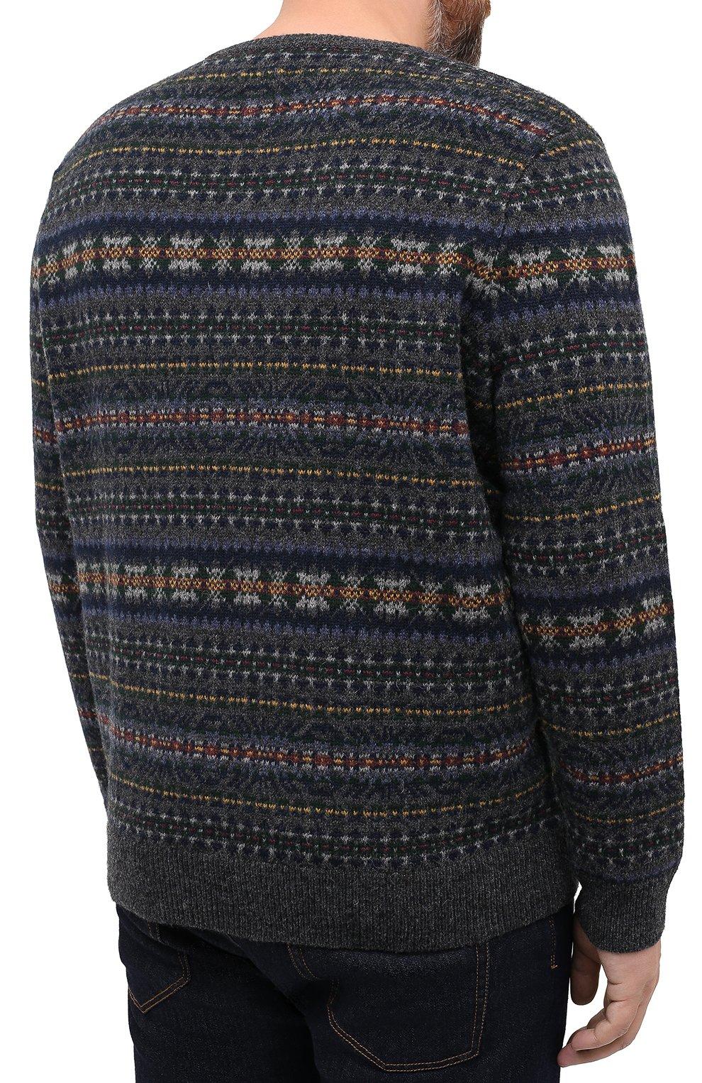 Мужской шерстяной свитер POLO RALPH LAUREN серого цвета, арт. 711814717/PRL BS   Фото 4 (Big sizes: Big Sizes; Материал внешний: Шерсть; Рукава: Длинные; Длина (для топов): Стандартные; Стили: Кэжуэл)