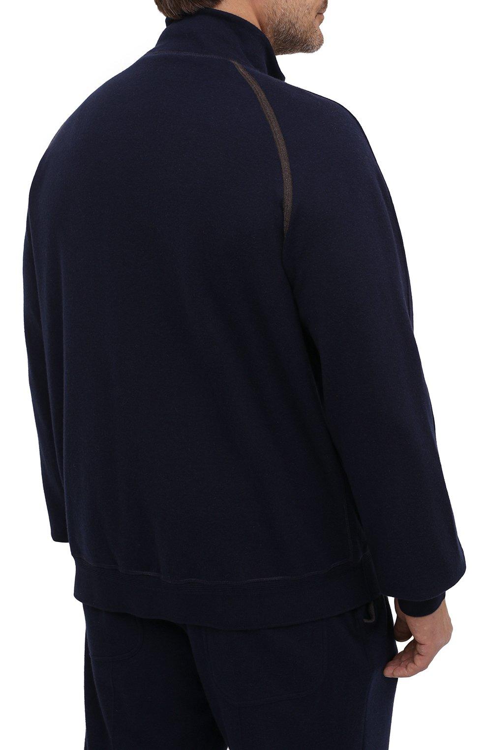 Мужской кардиган из хлопка и кашемира CORTIGIANI темно-синего цвета, арт. 914612/0000/60-70 | Фото 4 (Big sizes: Big Sizes; Мужское Кросс-КТ: Кардиган-одежда; Рукава: Длинные; Длина (для топов): Стандартные; Материал внешний: Хлопок; Стили: Кэжуэл)