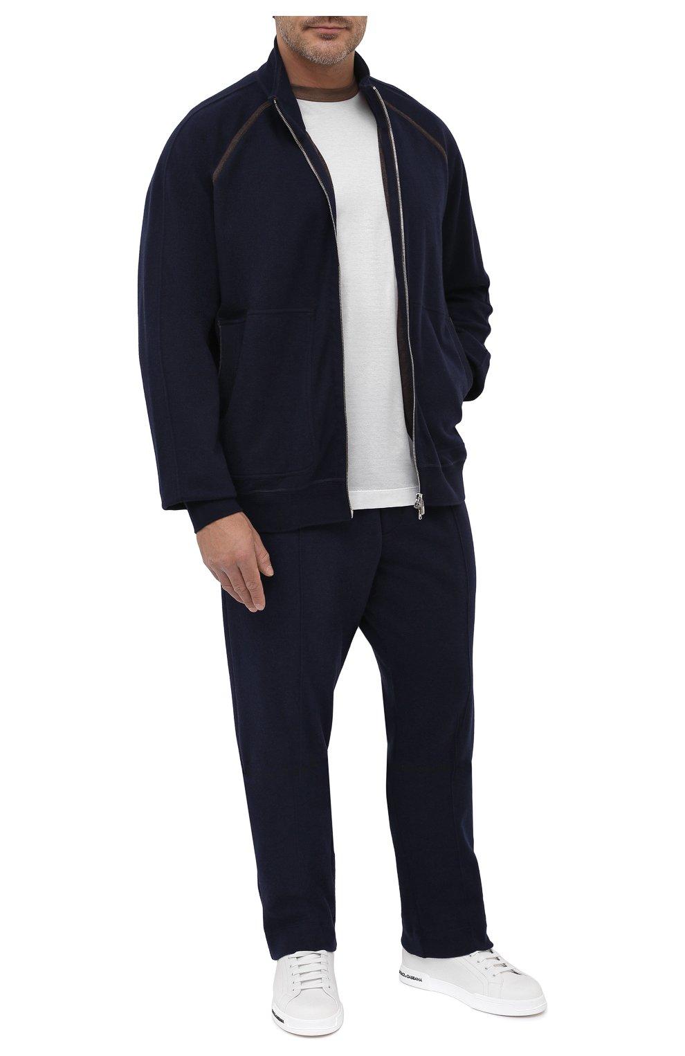 Мужские брюки из хлопка и кашемира CORTIGIANI темно-синего цвета, арт. 914613/0000/60-70 | Фото 2 (Big sizes: Big Sizes; Мужское Кросс-КТ: Брюки-трикотаж; Длина (брюки, джинсы): Стандартные; Случай: Повседневный; Материал внешний: Хлопок; Стили: Спорт-шик)