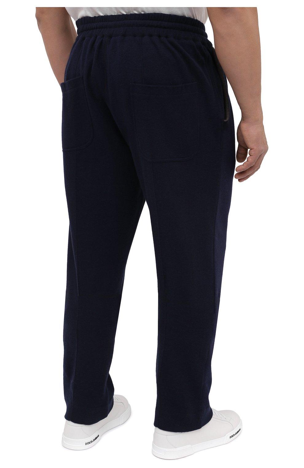 Мужские брюки из хлопка и кашемира CORTIGIANI темно-синего цвета, арт. 914613/0000/60-70 | Фото 4 (Big sizes: Big Sizes; Мужское Кросс-КТ: Брюки-трикотаж; Длина (брюки, джинсы): Стандартные; Случай: Повседневный; Материал внешний: Хлопок; Стили: Спорт-шик)
