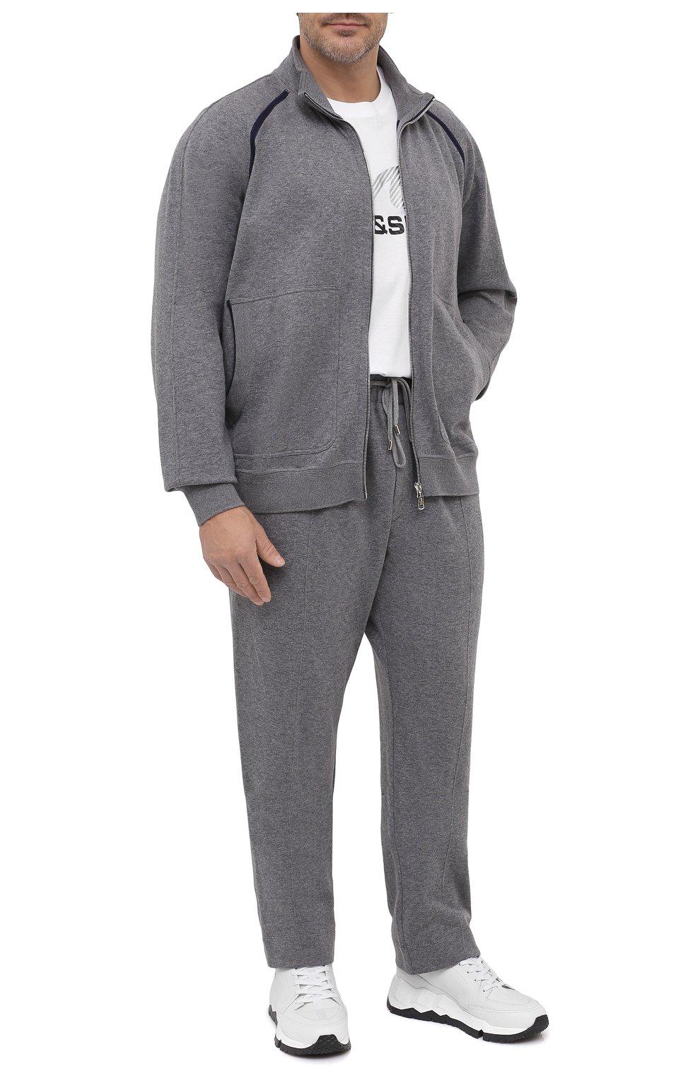 Мужские брюки из хлопка и кашемира CORTIGIANI серого цвета, арт. 914613/0000/60-70 | Фото 2 (Big sizes: Big Sizes; Мужское Кросс-КТ: Брюки-трикотаж; Длина (брюки, джинсы): Стандартные; Случай: Повседневный; Материал внешний: Хлопок; Стили: Спорт-шик)