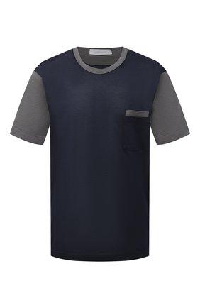 Мужская футболка из хлопка и шелка CORTIGIANI темно-синего цвета, арт. 916610/0000/60-70 | Фото 1