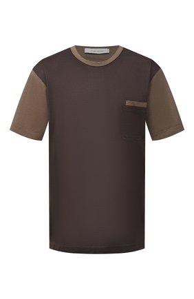 Мужская футболка из хлопка и шелка CORTIGIANI коричневого цвета, арт. 916610/0000/60-70 | Фото 1
