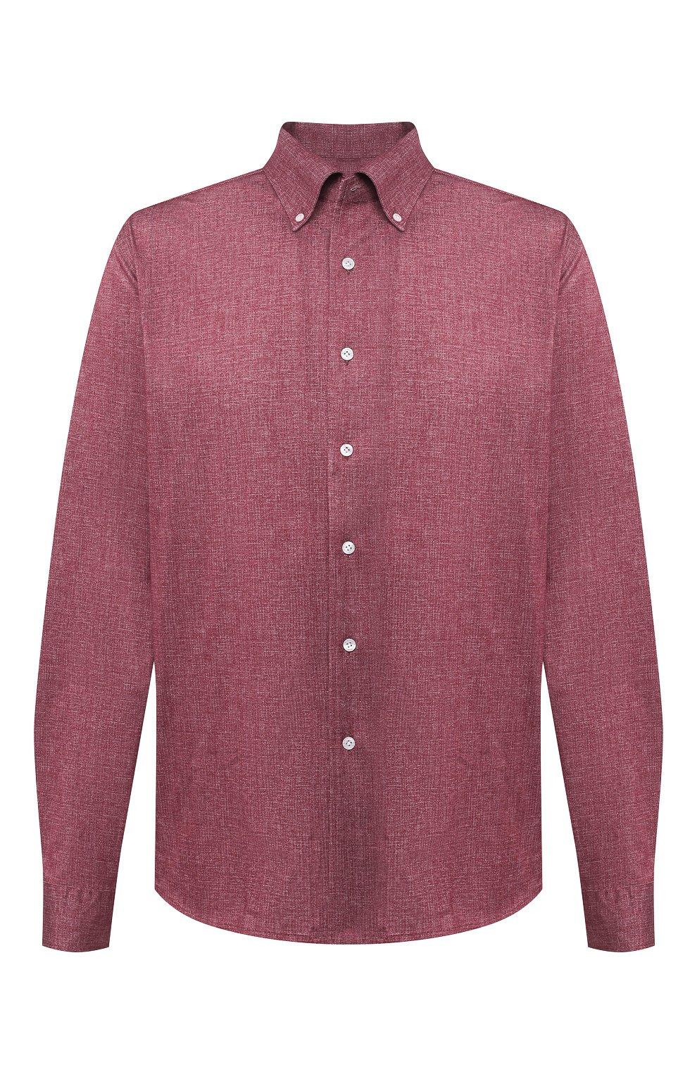 Мужская хлопковая рубашка SONRISA бордового цвета, арт. IFJ7167/J134/47-51   Фото 1 (Big sizes: Big Sizes; Рукава: Длинные; Случай: Повседневный; Длина (для топов): Стандартные; Рубашки М: Slim Fit; Материал внешний: Хлопок; Стили: Кэжуэл)