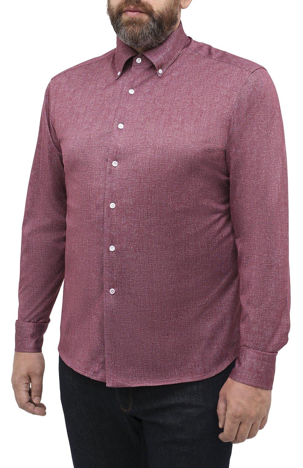 Мужская хлопковая рубашка SONRISA бордового цвета, арт. IFJ7167/J134/47-51   Фото 3 (Big sizes: Big Sizes; Рукава: Длинные; Случай: Повседневный; Длина (для топов): Стандартные; Рубашки М: Slim Fit; Материал внешний: Хлопок; Стили: Кэжуэл)