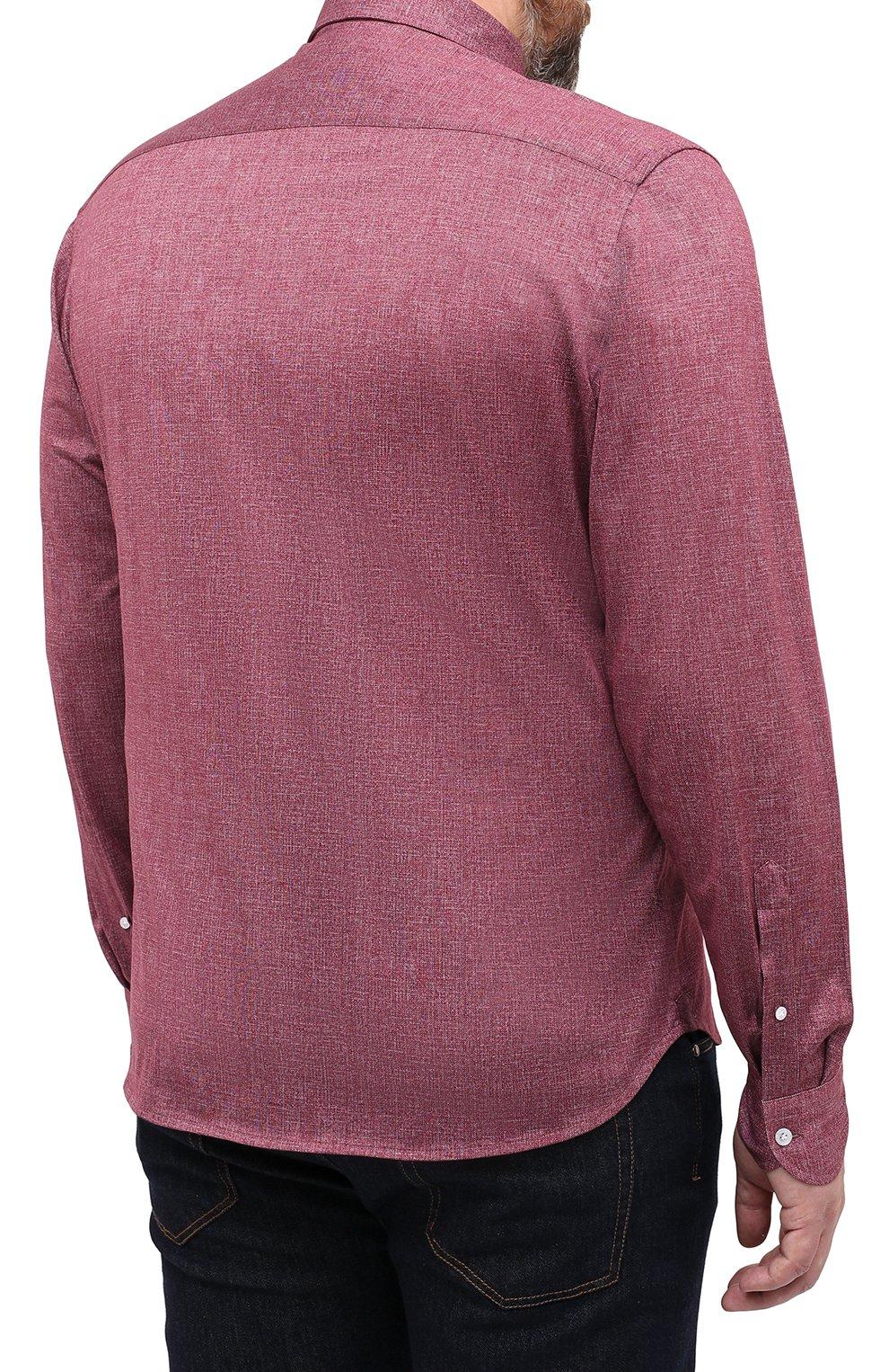 Мужская хлопковая рубашка SONRISA бордового цвета, арт. IFJ7167/J134/47-51   Фото 4 (Big sizes: Big Sizes; Рукава: Длинные; Случай: Повседневный; Длина (для топов): Стандартные; Рубашки М: Slim Fit; Материал внешний: Хлопок; Стили: Кэжуэл)