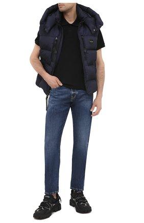Мужское хлопковое поло MONCLER черного цвета, арт. F2-091-8A716-10-84556 | Фото 2