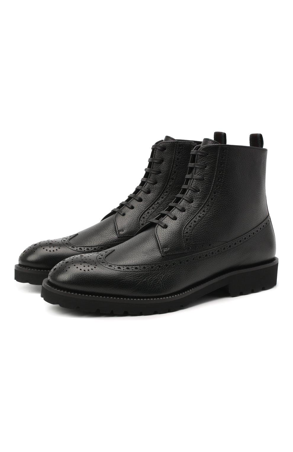Мужские кожаные ботинки BOSS черного цвета, арт. 50439770   Фото 1