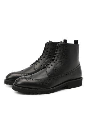 Мужские кожаные ботинки BOSS черного цвета, арт. 50439770 | Фото 1