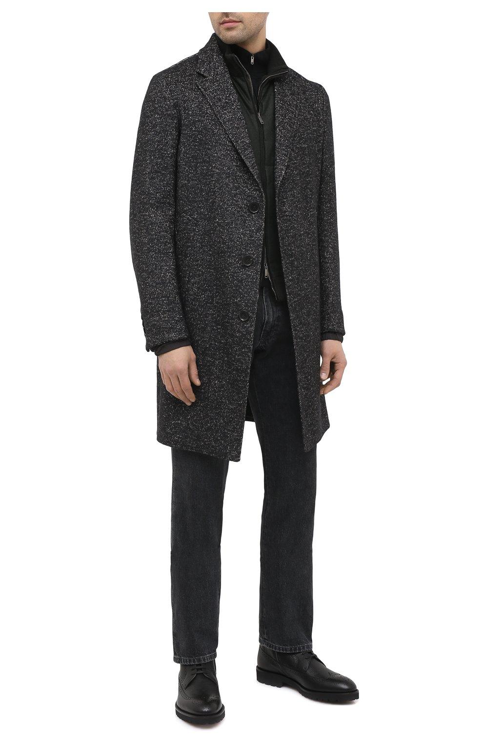 Мужские кожаные ботинки BOSS черного цвета, арт. 50439770   Фото 2