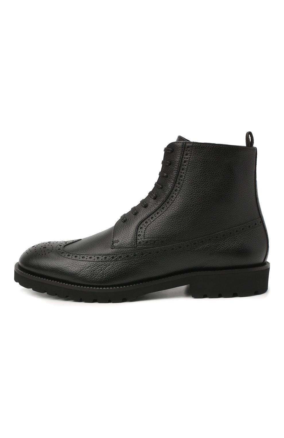 Мужские кожаные ботинки BOSS черного цвета, арт. 50439770 | Фото 3