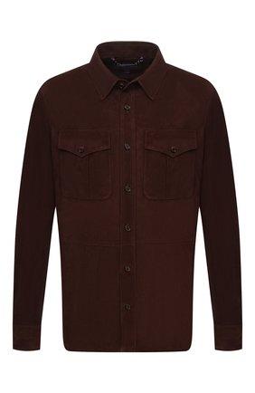 Мужская замшевая рубашка RALPH LAUREN темно-коричневого цвета, арт. 790654923 | Фото 1