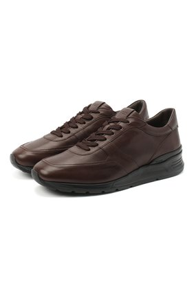 Мужские кожаные кроссовки TOD'S темно-коричневого цвета, арт. XXM69A0Z282DVR   Фото 1