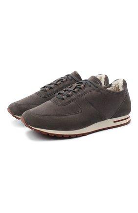 Мужские замшевые кроссовки LORO PIANA серого цвета, арт. FAL5055 | Фото 1