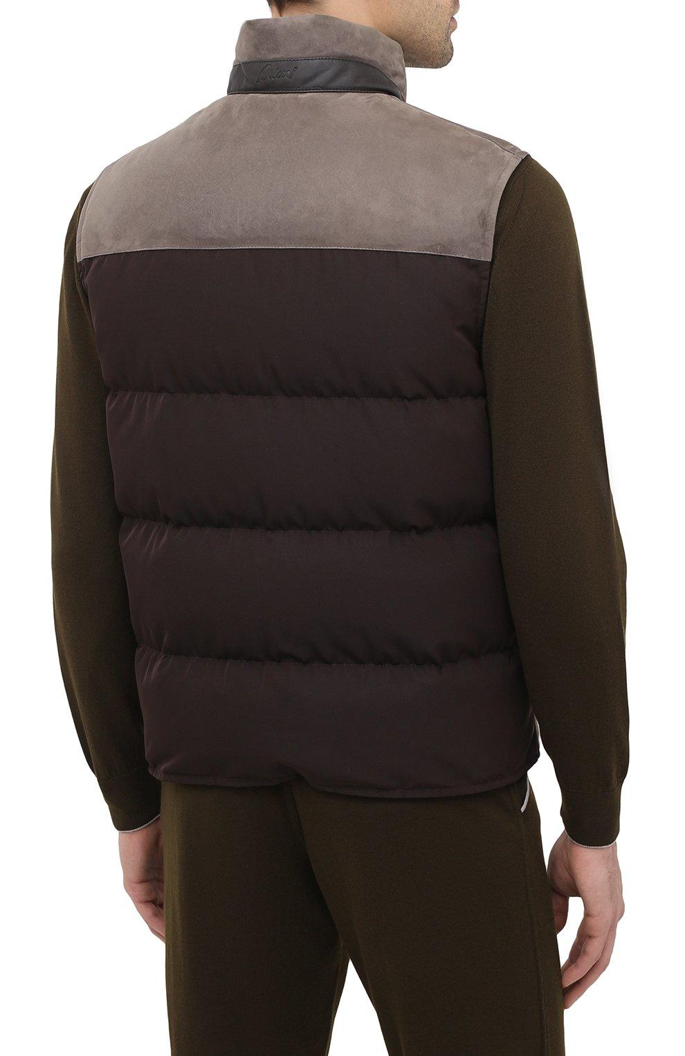Мужской пуховый жилет BRIONI коричневого цвета, арт. PLV70L/09738 | Фото 4
