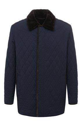 Мужская куртка с меховой подкладкой BRIONI темно-синего цвета, арт. SFP70L/09A20 | Фото 1