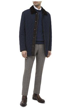 Мужская куртка с меховой подкладкой BRIONI темно-синего цвета, арт. SFP70L/09A20 | Фото 2