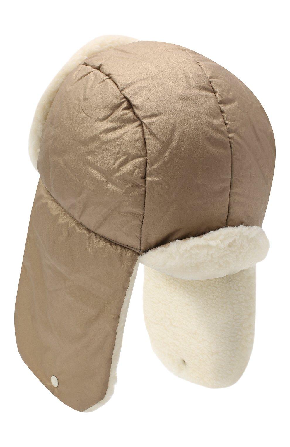 Детского шапка-ушанка MONCLER бежевого цвета, арт. F2-954-3F600-10-54AJK   Фото 2 (Материал: Текстиль, Хлопок)