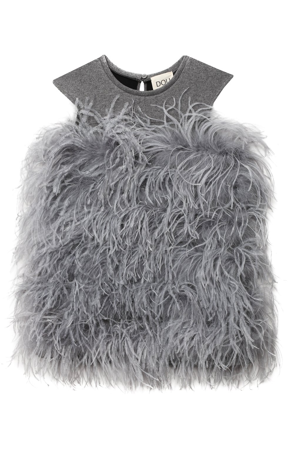 Детское хлопковое платье с перьями страуса DOUUOD серого цвета, арт. 20I/U/JR/AB20/1237/4A-8A | Фото 1 (Случай: Вечерний; Рукава: Короткие; Материал внешний: Хлопок; Девочки Кросс-КТ: Платье-одежда)