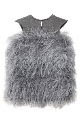 Детское хлопковое платье с перьями страуса DOUUOD серого цвета, арт. 20I/U/JR/AB20/1237/4A-8A | Фото 2 (Случай: Вечерний; Рукава: Короткие; Материал внешний: Хлопок; Девочки Кросс-КТ: Платье-одежда)