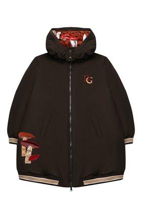 Детское пуховое пальто DOLCE & GABBANA коричневого цвета, арт. L5JBC1/FUMZI/8-14 | Фото 1
