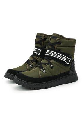Детские ботинки DOLCE & GABBANA хаки цвета, арт. DA0923/A4278/37-39 | Фото 1