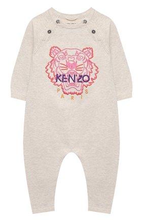 Детский хлопковый комбинезон KENZO бежевого цвета, арт. KR32003 | Фото 1