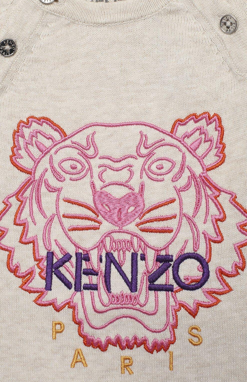Детский хлопковый комбинезон KENZO бежевого цвета, арт. KR32003 | Фото 3