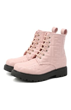 Детские кожаные ботинки FENDI розового цвета, арт. JMR338/AADS/27-31 | Фото 1