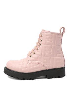 Детские кожаные ботинки FENDI розового цвета, арт. JMR338/AADS/27-31 | Фото 2