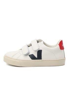 Детские кожаные кеды VEJA белого цвета, арт. RSV021233/28-35   Фото 2 (Материал внутренний: Текстиль; Кросс-КТ: велькро)