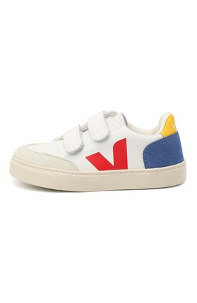 Детские кожаные кеды VEJA разноцветного цвета, арт. VSV021838/28-35   Фото 2 (Материал внутренний: Текстиль; Кросс-КТ: велькро)